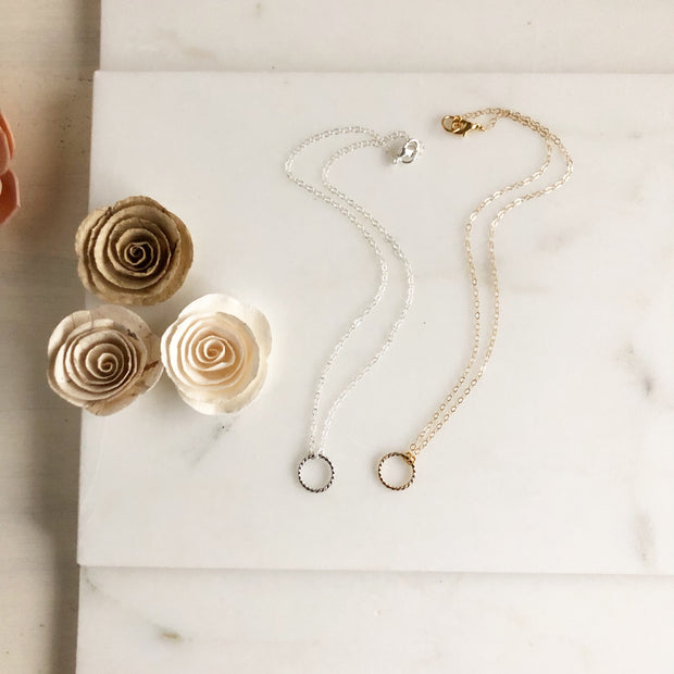 Matte Twisted Circle Necklaces. Layering Necklaces. Silver and Gold Layering Jewelry.
