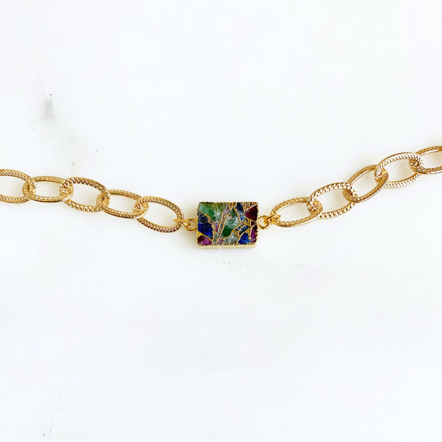 Chunky Chain Bracelet with Multicolored Mojave. Mosaic Stone Gold Bracelet