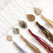 Boho Tassel Necklace. Tassel Necklace. Long Tassel Necklace with Stone. Boho Jewelry. Long Necklace