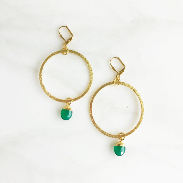 Gold Hoop Earrings with Green Onyx Drops. Gold Statement Earrings. Dangle Earrings