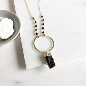 Black Raw Stone Necklace with Gold Circle and Black Beaded Chain. Long Black and Gold Necklace.