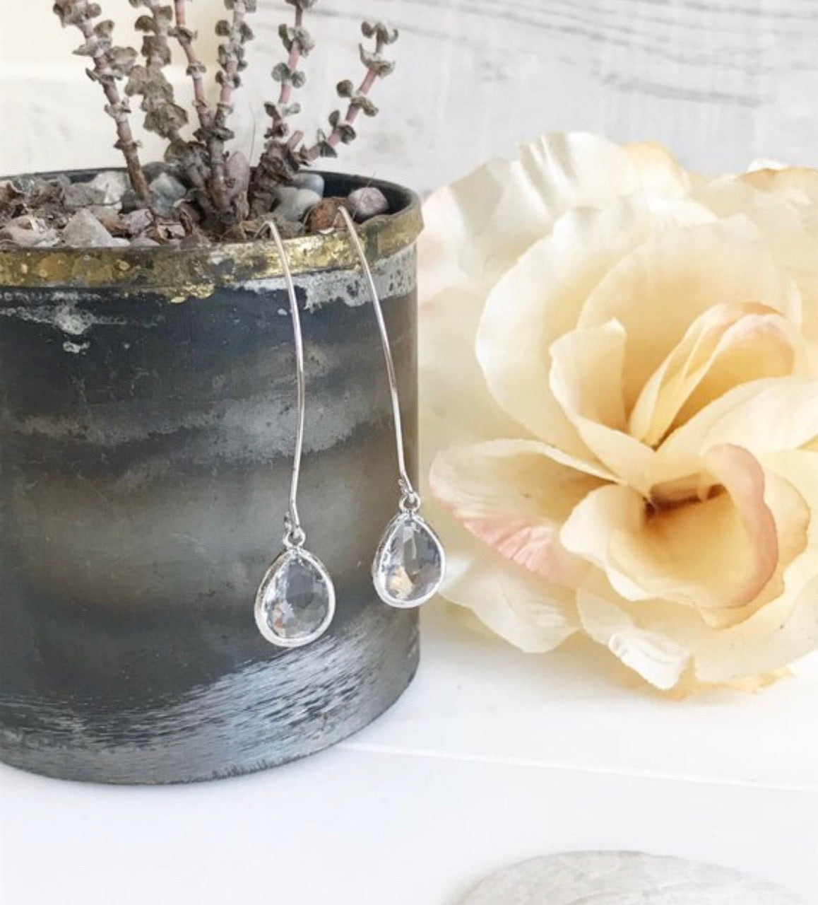 Silver and Clear Stone Drop Earrings. Bridesmaid Gift. Rose Gold Drop Earrings. Wedding Jewelry.