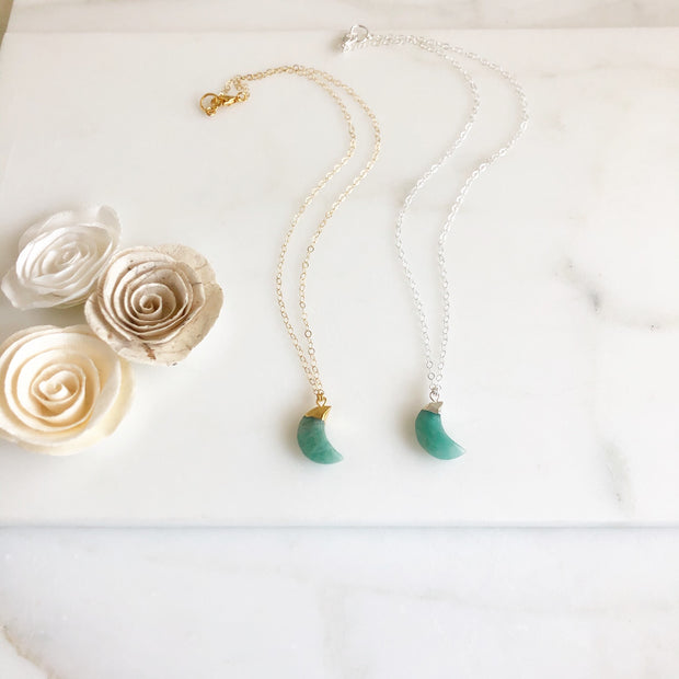 Simple Amazonite Crescent Necklace in Silver or Gold. Gemstone Necklace. Moon Necklace. Gift.