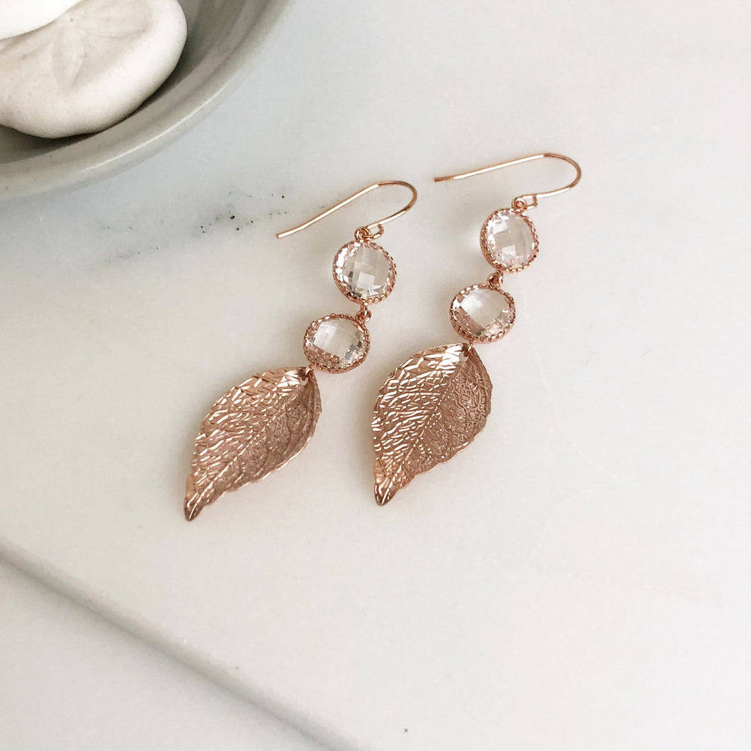 Rose Gold Leaf and Clear CZ Round Stone Dangle Earrings. Rose Gold Drop Earrings. Jewelry. Leaf Earrings. Dangle Earrings. Gift.
