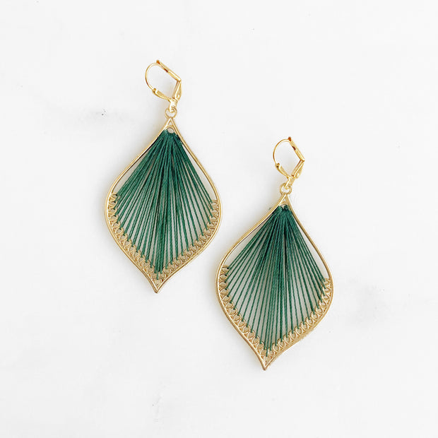 Fun Gold Statement Earrings in Green, Cream and Black. Gold Teardrop Earrings. Statement Jewelry.