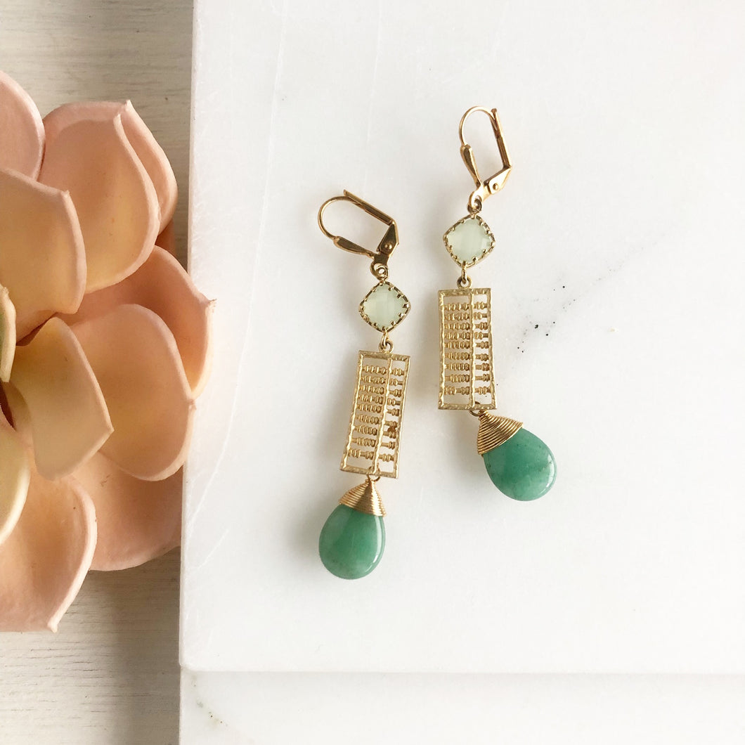 SALE Long Green Drop Earrings in Gold.