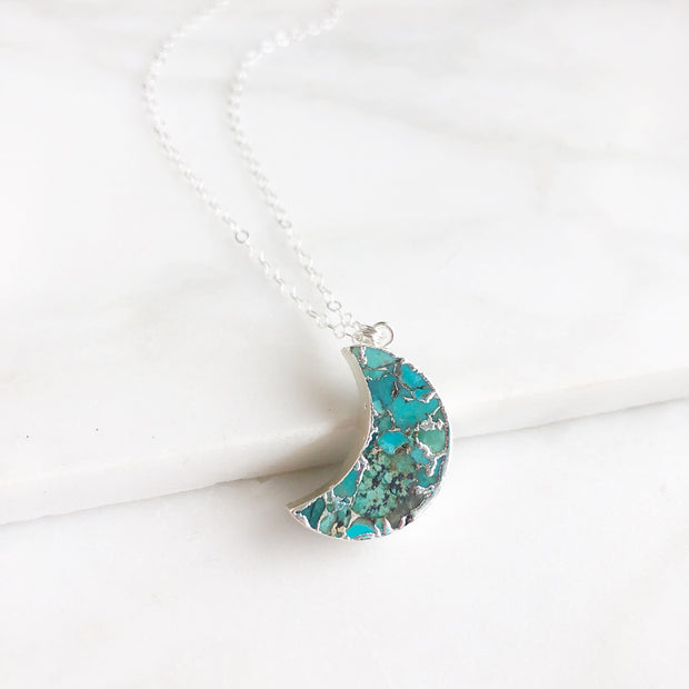 Turquoise Moon Necklace in Silver. Sterling Silver Moon Necklace. Turquoise Jewelry