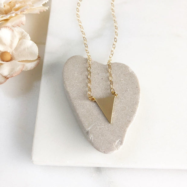 Petite Gold Triangle Necklace. Simple Dainty Gold Layering Necklace