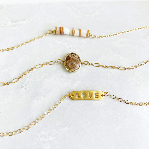 Jasper Love Shell Bracelet Set. Gold Chain Bracelet Gemstone Love Bar Shell. Dainty Jewelry