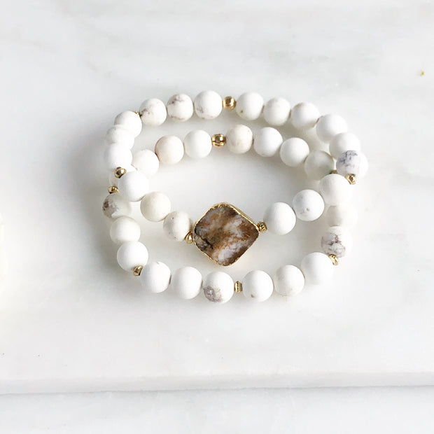 Set of 2 Stretchy Beaded Bracelets with Brown Druzy Stone and White Howlite Beading Jewelry