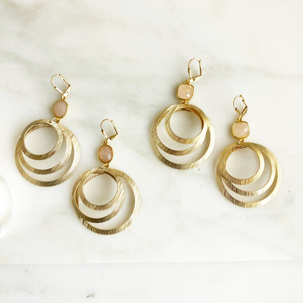 Gold Multiple Circle Statement Earrings with Peach Stones