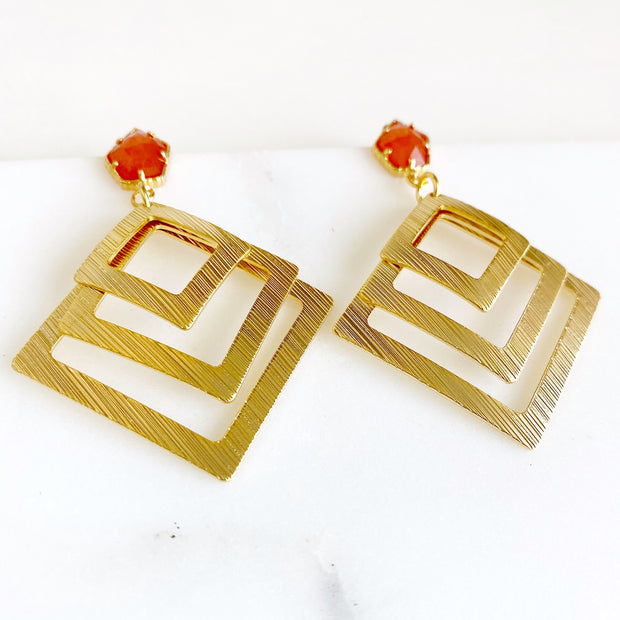 Orange Carnelian Post Earrings with Multiple Square Pendants. Gold Statement Earrings
