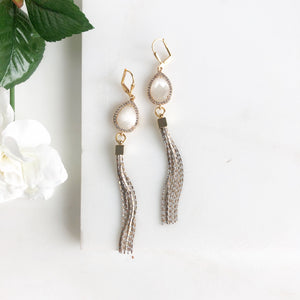 Fancy Gold Tassel Earrings in Smoky White.
