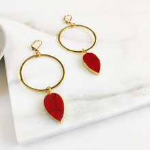Load image into Gallery viewer, Statement Earrings with Red Sediment Jasper and Gold Hoops. Super Big Long Stone Earrings. Gold Statement Earrings. Jewelry Gift.