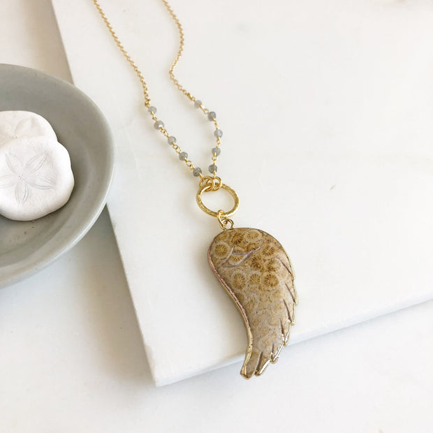 Brown Beige Long Wing Necklace. White Wing Necklace. Long Gold Wing Slice Necklace. Long Boho Gold Stone.