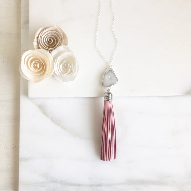 White Quartz Druzy and Pink Leather Tassel Necklace in Silver. Pink Silver Tassel Necklace.