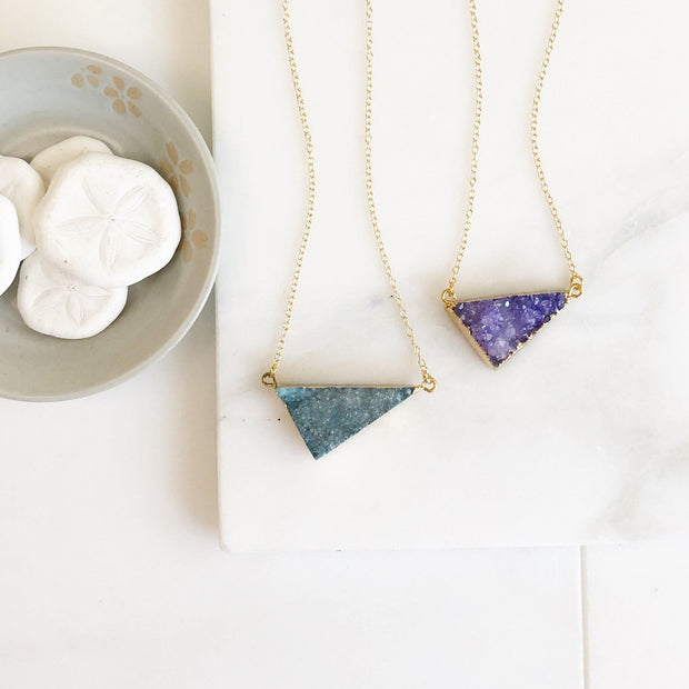 Aqua Purple Pink Druzy Triangle Necklace. Crystal Geode Necklace