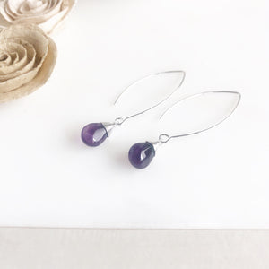 Long Silver Amethyst Drop Earrings. Purple Silver Teardrop Earrings. Marquise Earrings.