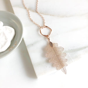 Long Rose Gold Leaf Necklace. Rose Gold Leaf Necklace. Long Rose Gold Bohemian Necklace. Rose Gold Necklace. Rose Gold Jewelry.