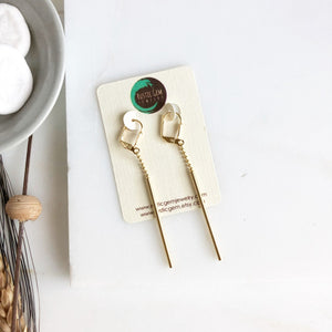 Long Gold Stick Earrings.
