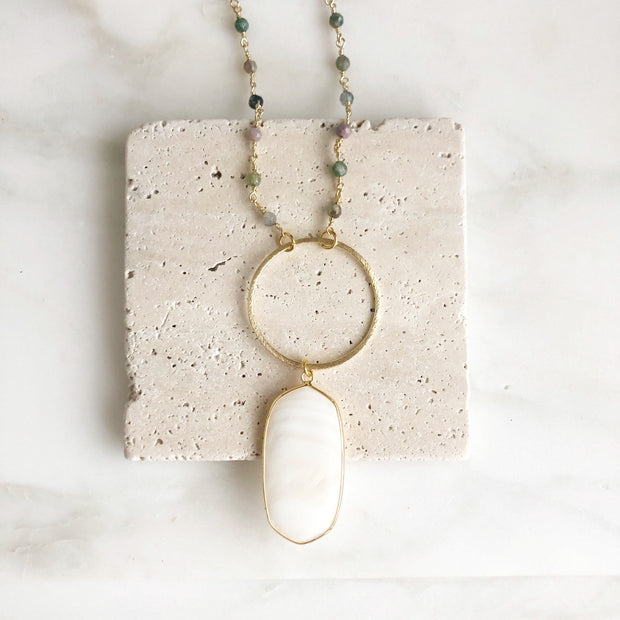 Long Necklace with White Stone and Beaded Chain