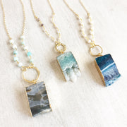 Long Geode Beaded Slice Necklace. Gold Druzy Slice Necklace