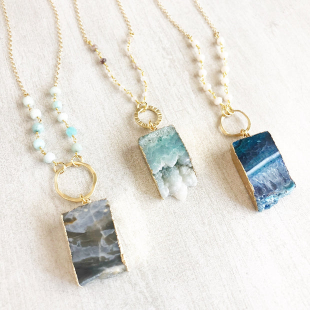 Long Geode Beaded Slice Necklace. Long Druzy Slice Necklace. Gold Necklace. Strand Necklace. Unique Jewelry. Gift.