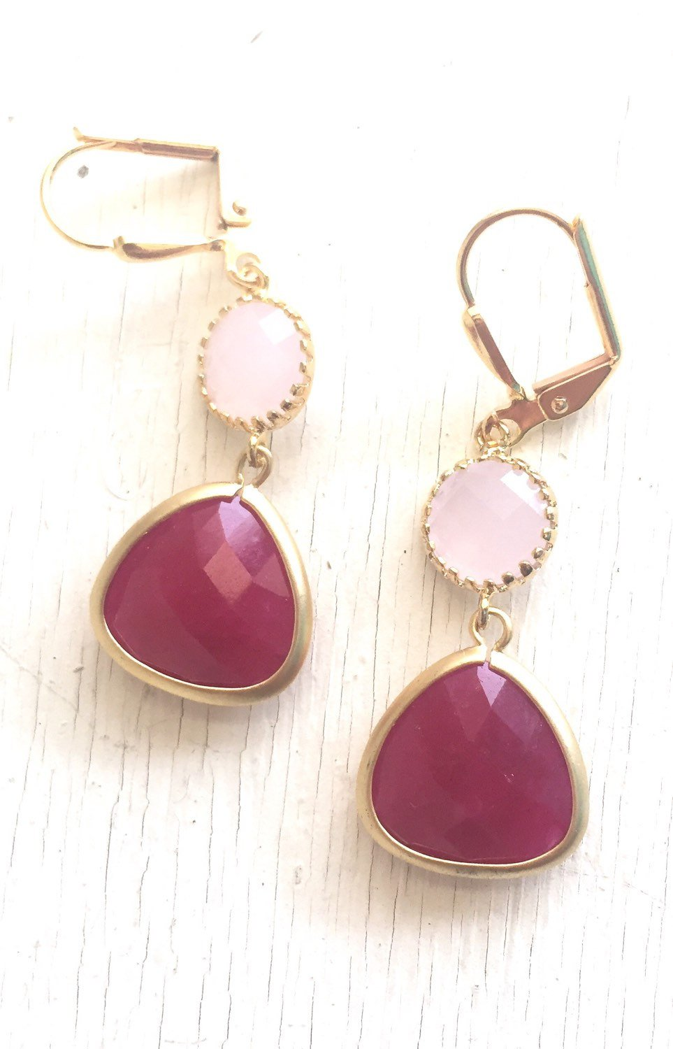 Earrings Bridesmaid Earrings with Fuchsia and Pale Pink Jewels. Pink Bridesmaid Jewelry. Bridal Party Gift. Jewelry. Pink Wedding.