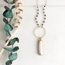 Load image into Gallery viewer, Long White Selenite and Circle Pendant Necklace with Green Beading in Gold.