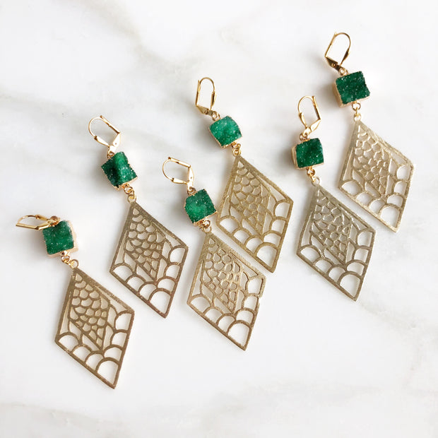 Druzy Statement Earrings in Gold. Green Druzy and Gold Statement Earrings. Druzy Jewelry. Gift.