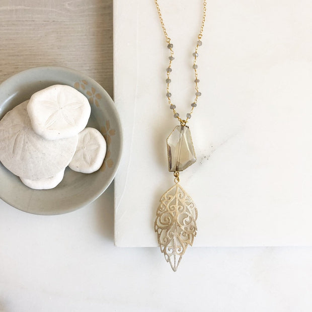 Long Necklace. Champagne Stone Long Necklace. Bohemian Jewelry. Labradorite Necklace. Long Boho Necklace. Gift.