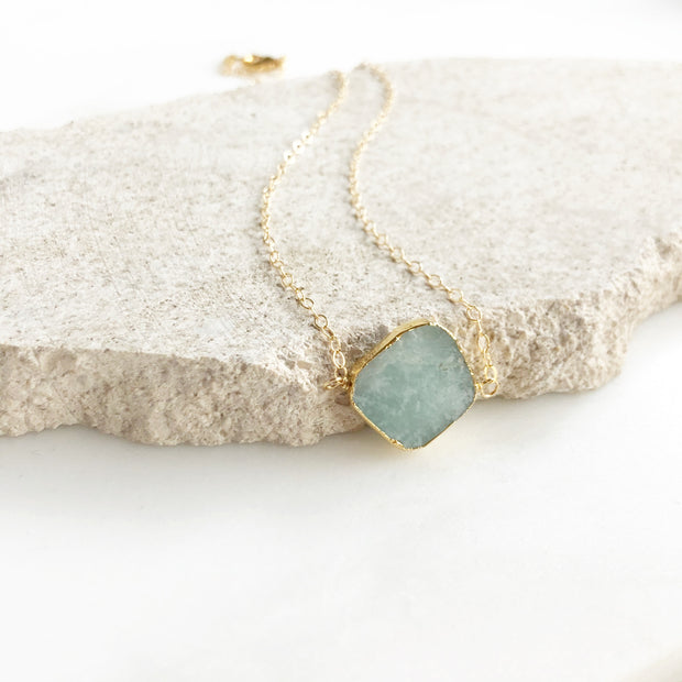 Amazonite Choker Necklace in Gold. Gemstone Slice Necklace. Necklace. Layering Jewelry.