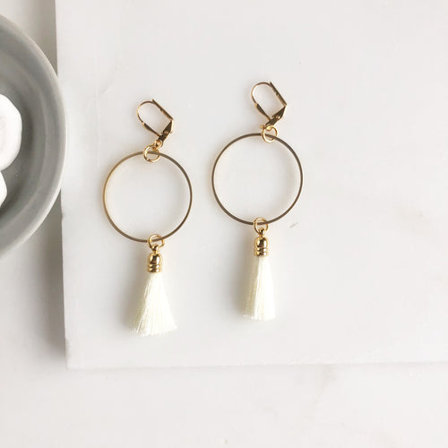 Cream Tassel and Gold Hoop Earrings. Tassel Earrings. Statement Earrings. Jewelry.