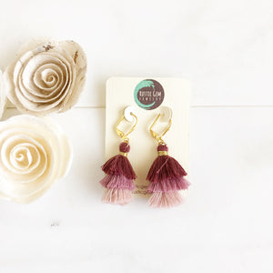 Cute Puffy Dangle Earrings in Shades of Plum. Purple Tassel Earrings. Sweet Jewelry Gift.