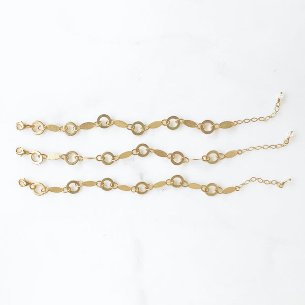 Chunky Matte Gold Geometric Chain Bracelet. Unique Gold Multi Shape Chain Bracelet
