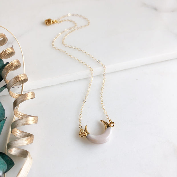 White Crescent Necklace in Gold. White Moon Layering Necklace