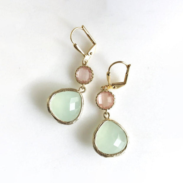 Mint and Grapefruit Pink Dangle Earrings. Coral Mint Gold Fashion Earring
