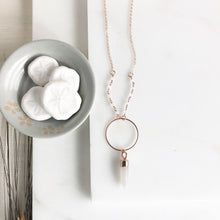 Load image into Gallery viewer, Long Rose Gold Crystal Necklace. Long Crystal Rose Gold Necklace with Beaded Chain.