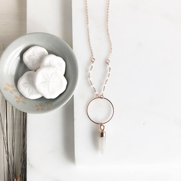 Long Rose Gold Crystal Necklace. Long Crystal Rose Gold Necklace with Beaded Chain.