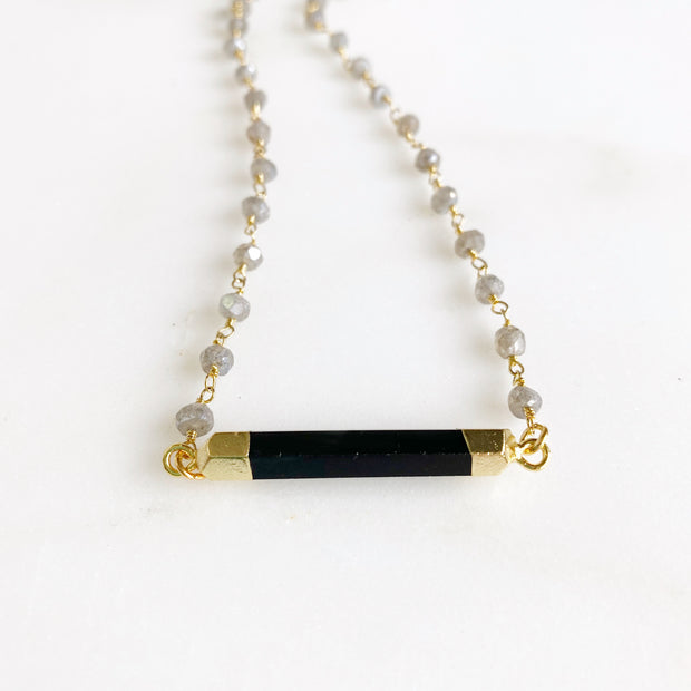 Black Onyx Bar and Labradorite Beaded Necklace in Gold. Black Gold Bar Beaded Necklace