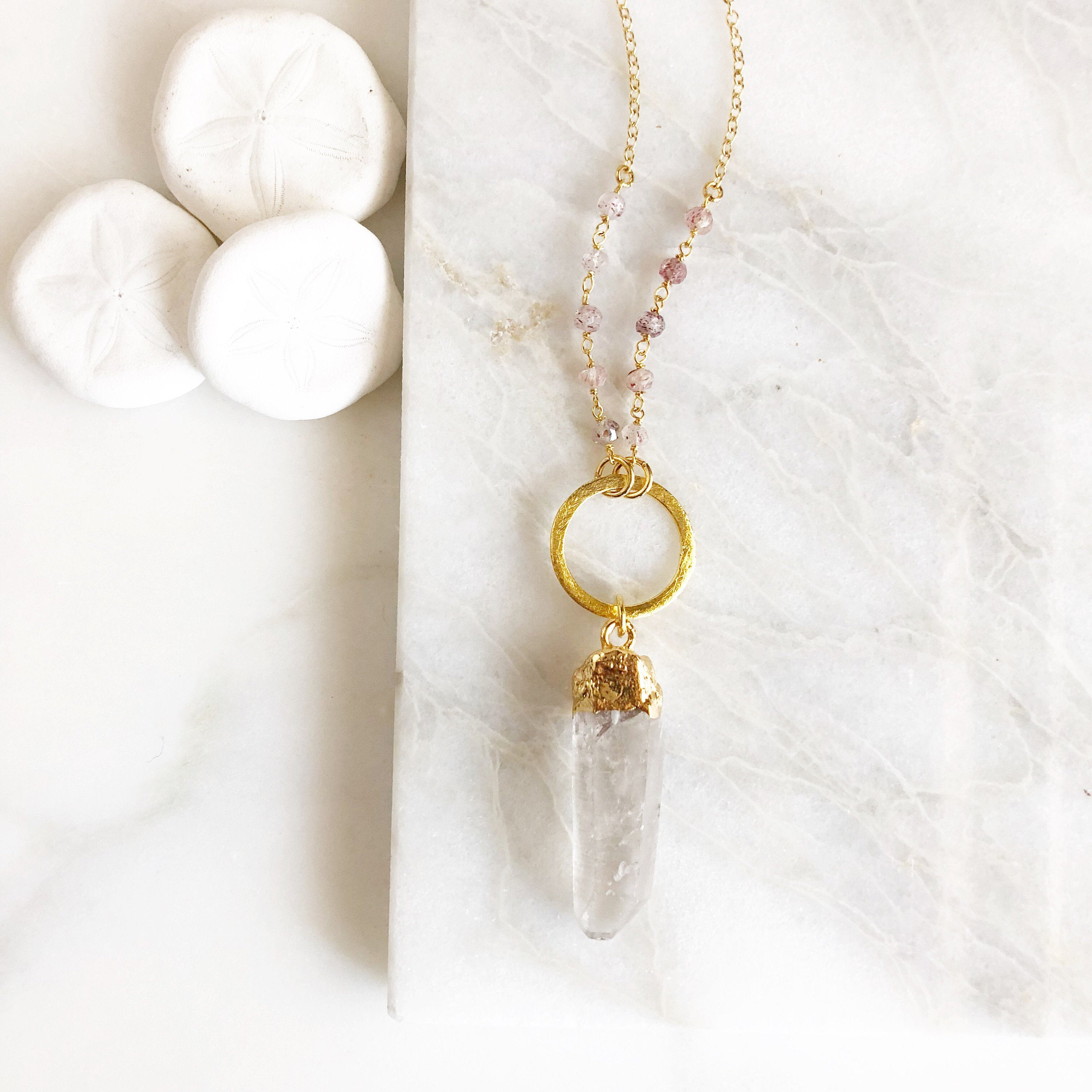 Long Stone Necklace Long Crystal Necklace with Strawberry Quartz Beaded Chain in Gold. Long Boho Crystal Necklace.