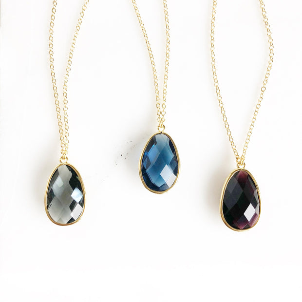Long Gold Stone Statement Necklace in Black, Navy, Charcoal. Long Jewel Boho Necklace
