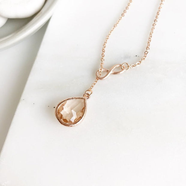 Rose Gold Wedding Necklace. Bridesmaid Gift. Rose Gold Bridal Necklace. Champagne Bridal Necklace.