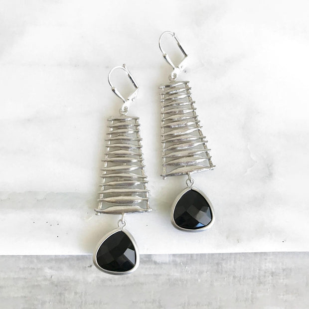 Statement Earrings. Black and Silver Dangle Earrings. Glass Fashion Earrings