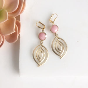 Pink Statement Earrings in Gold. Dangle Earrings.