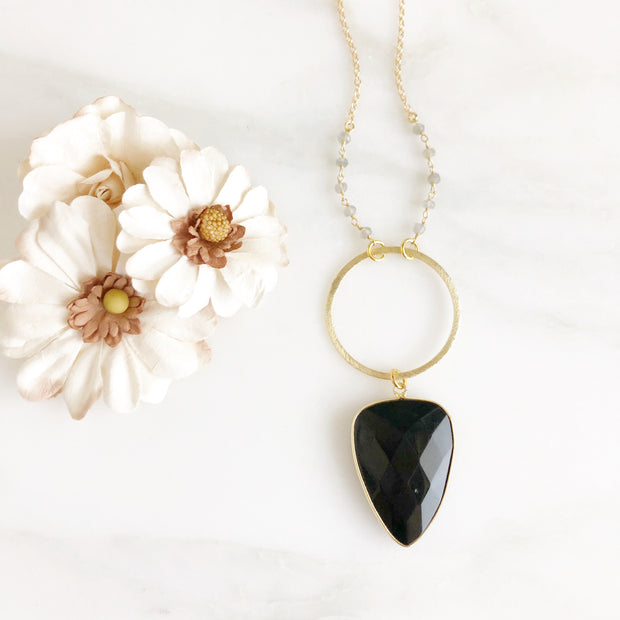 Black Shield Necklace with Labradorite Beading in Gold