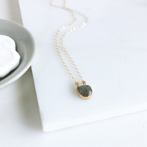 Labradorite Dot Necklace in Gold. Dainty Gold Necklace. Delicate Necklace. Gift.
