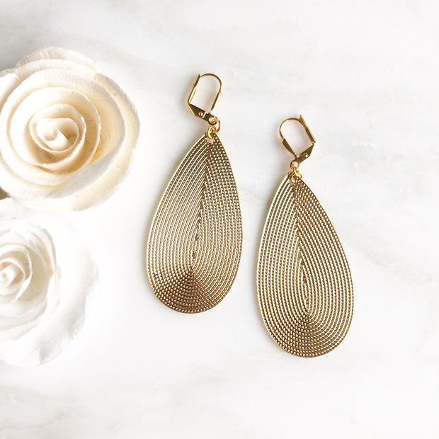 Large Teardrop Earrings in Gold or Silver. Big Teardrop Statement Earrings