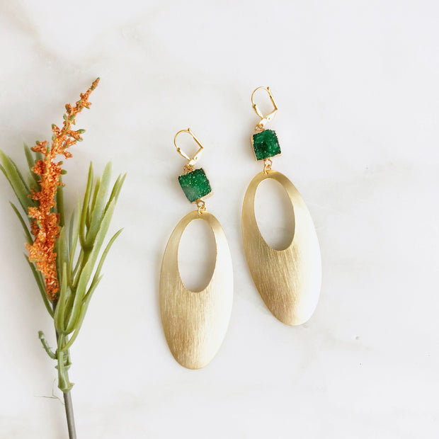 Super Big Statement Earrings with Oval Pendants and Green Druzy Stones