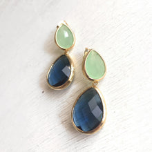 Load image into Gallery viewer, Navy Blue and Mint Jewel Gold Post Earrings. Bridesmaid Earrings. Gift. Statement Earrings. Dangle. Drop. Post Earrings.